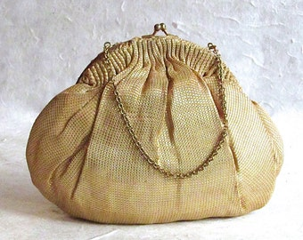 Vintage 1930's Metalic Gold Purse | with chain Handle