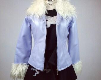 90's Fur Trim Lavender Pearl Faux Leather Cropped Jacket // M