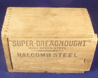 "Vintage ""Super-Dreadnought"" Halcomb Steel Drill Bit Wooden Box, 1910s"
