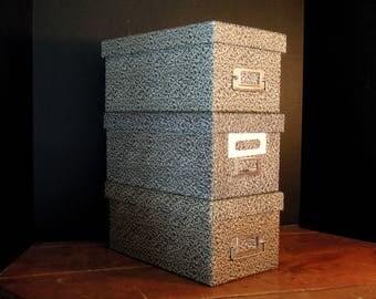 Three Vintage Cardboard File Boxes / Office Storage / Amfile C145 Box / Vintage Office