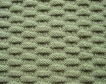 Hand-Knit Baby Blanket Afghan in Light Neutral Sage Green, Gender Neutral Shower Gift