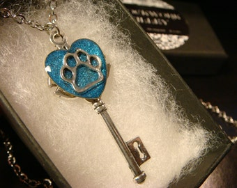 Paw Heart Skeleton Key Necklace in Antique Silver- Blue Background (2342)