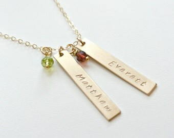 Birthstone Bar Necklace, Family Necklace, Children Name,  Gemstone Gold Bar Necklace, Custom Personalized Jewelry, Mother Daughter Jewelry