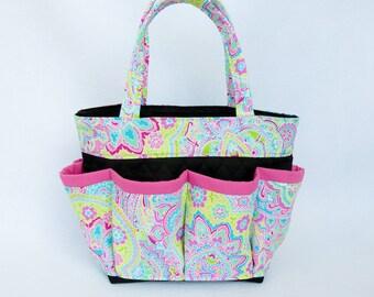 Pink Paisley Bingo Bag // Craft Organizer // Makeup Organizer // Caddy // Teacher Tote // Nurse Tote