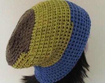 Blue Gold Brown Slouchy Hat, Slouchy Crochet Hat, Wool Hat, Slouch Hat, Slouch Beanie, Boho Beanie, Dreadlocks Beanie, Hippie Hat