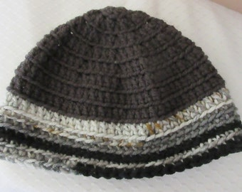 Reserved for Estelle - Grey Beanie with White Brown Black Brim
