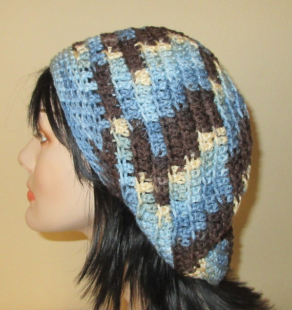 Slouchy Beanie, Women Slouchy Beanie, Men Slouchy Hat, Blue Brown Cream Slouchy Hat,Tam, Womens Blue Hat Crocheted, Slouchy Hat