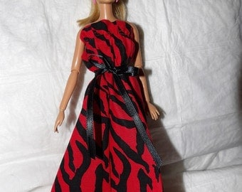 Red & black Zebra animal print maxi dress for Fashion Dolls - ed931