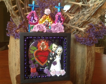 Day of the dead Wedding Nicho. Shrine piece. Cake topper.