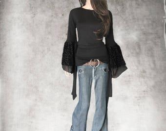 Black top/Velvet layer sleeve/Extra long shirt/Crew neck shirt/Knit blouse