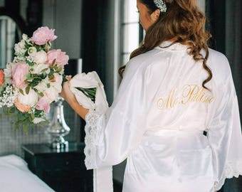 Silk Satin Bridal White Ivory robe, dressing gown, personalized robes, silk bridesmaids robes, silk floral robe, kimono dressing gown