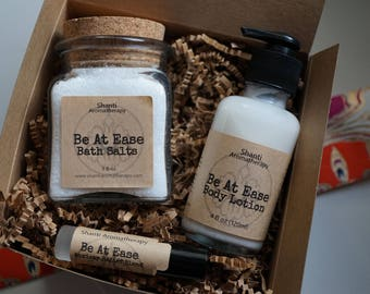 Be At Ease Spa Gift Set for Relaxation and stress relief - 9oz bath salts, 4oz lotion, perfume - lavender geranium neroli - gifts for women
