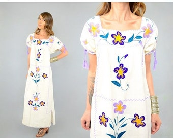 FEBRUARY SALE 70's Embroidered MEXICAN Dress