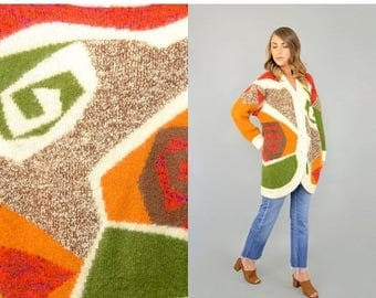 MAY SALE 80's Abstract Mohair Cardigan