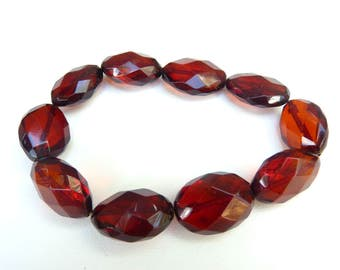 Baltic Amber Cherry Faceted Bracelet Olive Beads Natural 12.2 gram