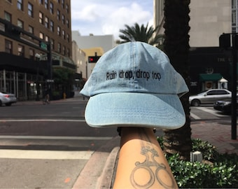 Rain Drop Drop Top Denim Baseball Hat / Dad Hat / Embroidered Baseball Cap / Unconstructed / Designed by GAG THREADS