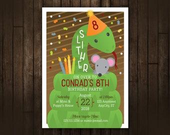 Snake Birthday Invitation, Reptile Invitation, Boys Birthday, Printable Birthday Invite, DIY Invitation, Slither, Cobra, Python, green snake