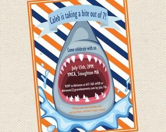 Shark bite birthday invitation, shower invitation, birthday invitation, event, party,