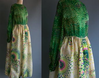 Vintage 60's Designer Bill Blass Maxi Dress with Floating Tulips and Neon Swirls Women's Retro/Boho/Peasant/ Psychedelic Medium Large