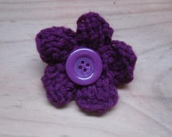 Dark Pink Flower Brooch, Flower Pin, Knitted Brooch