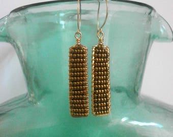 Gold Bar Rectangle Earrings Two Tone Earrings Beaded Geometric Dangles Gold Frame Earrings Hammered Wire Jewelry Column Earrings