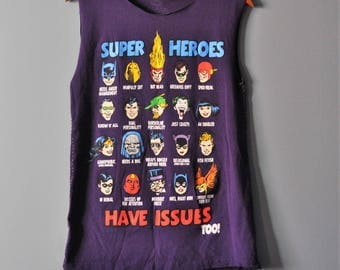 Marvel Comic Deconstructed T Shirt/Upcycled Super Heroes Tee in Purple/Sashiko