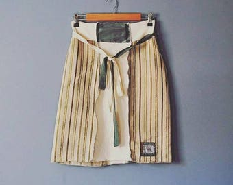 Upcycled A Line Skirt in Sage/Adjustable Waist Kanji Skirt/Womens Boho Clothing