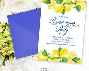 Lemon Housewarming Party Invitation - Fresh Lemon with Navy Font Meditteranean Invite Calligraphy Printable Italian Lemon New Home Party