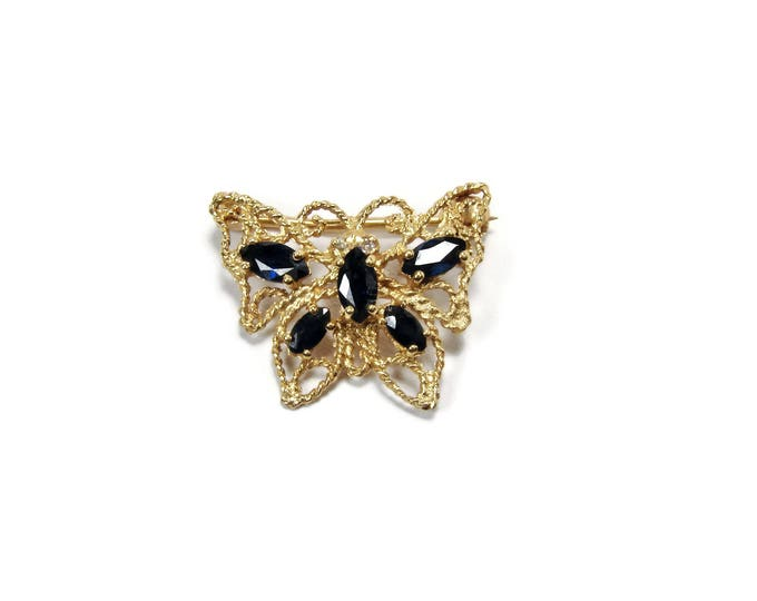 Vintage 18K Yellow Gold Sapphire Butterfly Pin