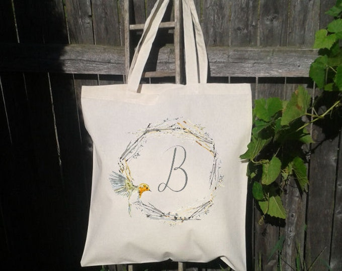 Bird Wreath Wedding Welcome Tote -Bridesmaid Bag, Customized for FREE, Nest