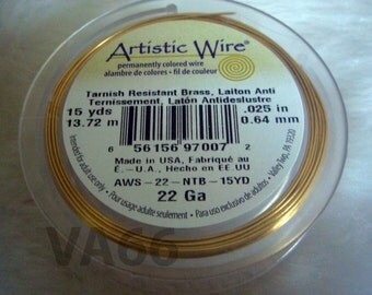 DIY Gold Artistic Wire 22 Gauge 0.6mm 15 Yards Round Wire Made in USA Brass Wire Findings Wire Wrapping Use for Craft Projects