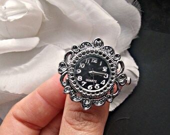 Bridal watch ring silver watch face bridal ring black watch face watch jewelry bride accessories wedding watch gift for her bridal shower