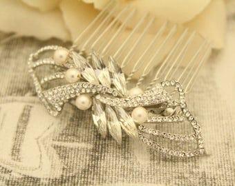 Bridesmaid hair accessories,pearl hair comb,Wedding hair piece,Bridal hair comb,Crystal hair jewelry,Wedding hair clip,Bridal headpiece,comb