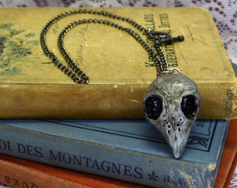 Gorgeous Hand Sculpted Clay Steampunk Aged White Bird Skull Dead Bird Necklace Statement Jewelry