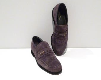 Hush Puppies Shoes Vintage Gray Loafers with Gold Buckle Accent Mens Size 9 Grey Suede Slip Ons Rockabilly Hipster Grandpa 1970s 1980s