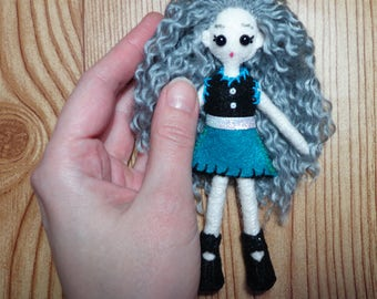 "Mini FabsTM 5"" tall felt doll with outfit set, all completely hand-sewn, comes in a hand-made gift box"