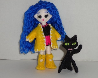"Micro FabsTM 4.25"" tall felt Coraline doll with removable outfit and shoes, all completely hand-sewn, comes with Cat in a gift box"