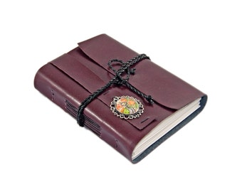 Burgundy Faux Leather Journal,  Lined Paper, Ready to Ship
