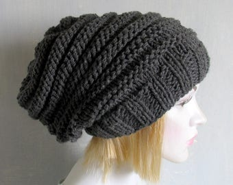 women men slouchy - beanie hat - Slouch Beanie - Large hat - Chunky Knit Winter Fall Accessories Knit Cable hat-Hat Valentine Beanie