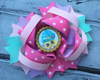 NEW ITEM Boutique Baby Girls Layered Shopkins Hair Bow Shopkins Bow Shopkins Clip Shopkins Birthday Bow Shopkins Cupcake Queen