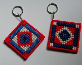 Plastic Canvas American Quilt Keychains   827