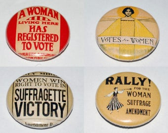 Suffragette Images Button Badge Set 25mm / 1 inch Feminist - Feminism - Vintage