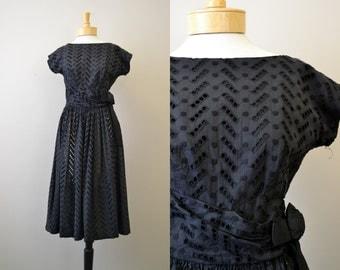 1950s Mar Tee Original Black Eyelet Lace Dress