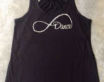 Forever Dance Tank, Infinity Dance Tank, Dance Forever Bling Tank, Rhinestone Dance Tank