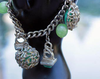 Green Chunky Charm Bracelet with Plastic Beads and Cabochons
