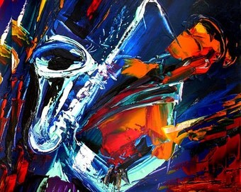 Hot Jazz Sax  abstract music painting PRINT on canvas colorful musician saxophonist solo by Milen Tod