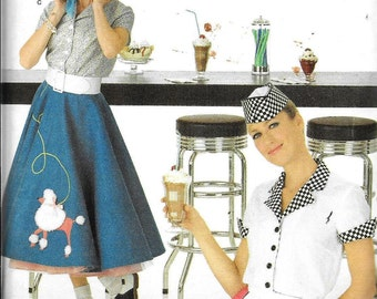 Simplicity 3847 Carhop 50s Vintage Poodle Skirt Costume Soda Fountain Sewing Pattern UNCUT Plus Size 14, 16, 18, 20 and 22 Andrea Schewe