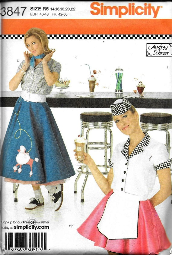 Simplicity 3847 Carhop 50s Vintage Poodle Skirt Costume Soda Fountain Sewing Pattern UNCUT Plus Size 14 16 18 20 And 22 Andrea Schewe From