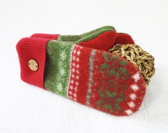 Ugly Christmas Sweater Mittens RED & GREEN Holiday Wool Mittens Fleece Lined Wool Gloves Mitts Unisex Gift for Women or Men WormeWool