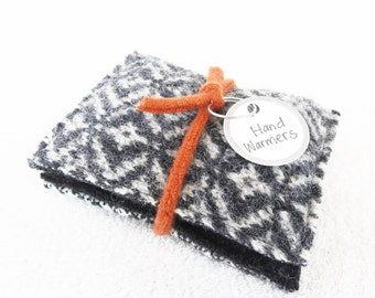 Pocket Hand Warmers GRAY & WHITE Reusable Felted Sweater Wool Handwarmers Rice Bags Ecofriendly Teacher Coworker Kids Gift by WormeWoole